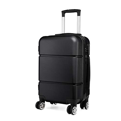 Kono Suitcase 20'' Travel Carry On Hand Cabin Luggage Hard Shell Travel Bag Lightweight, Black
