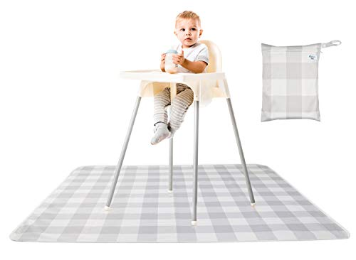 """MishMash Mat Splat Mat- Non-Slip-High Chair Floor Mat-Waterproof Splash Mat for Arts, Crafts, Food, Kids Pets 48 x 48"""" with Portable Carry Case-Wipes Clean and Machine Washable"""