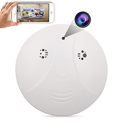 Spy Camera, Smoke Detector Hidden Camera, WiFi Wireless Camera 1080P with Motion Detective/ Night Vision for Home Security, Nanny Cam Support iOS/Android, White