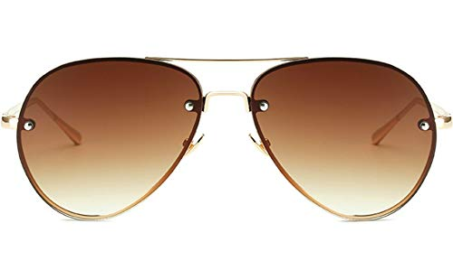 Oversized Aviator Sunglasses Vintage Retro Gold Metal Frame Colorful Lenses 62mm (Brown, 62mm)