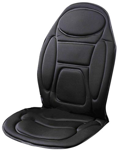Guilty Gadgets Universal 12V Car Heated Massage Seat | Truck Van Caravan Cigarette Lighter Socket Plug-In Vibrating Massager Cushion With 1.6m Power Cord | Back Pain Relief Soothing | 108cm x 49cm
