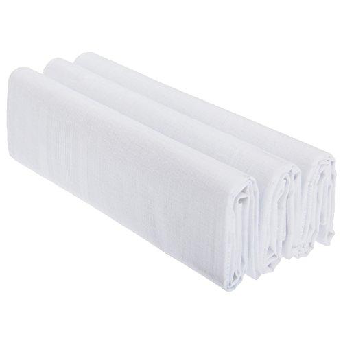 Mouchoirs unis 100% coton (lot de 3) - Homme (Taille unique) (Blanc)