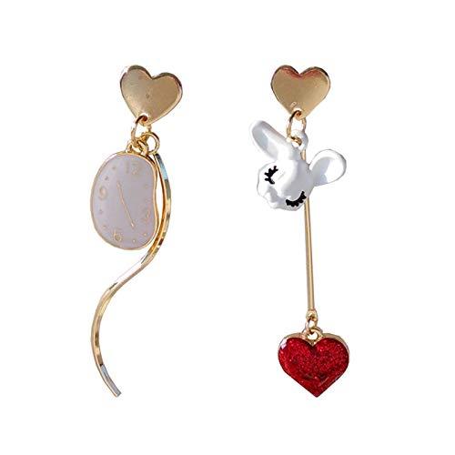 Aretes Elegantes Corazón Pendientes Mujer Tiempo Asimétrico Conejo Metal Textura Pendientes De Moda Metal Dorado Rojo Corazón Pendientes De Botón MujerOído Clip