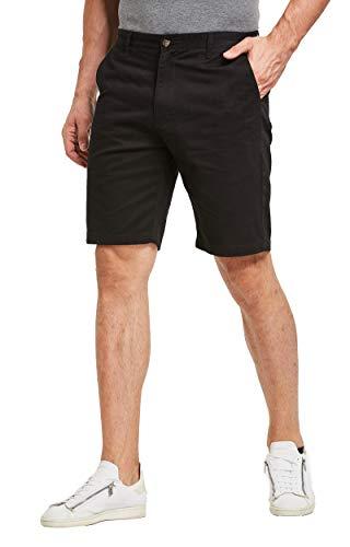 Tansozer Men's Shorts Casual Slim Fit Chino Shorts Dress Shorts (Black, Size 36)