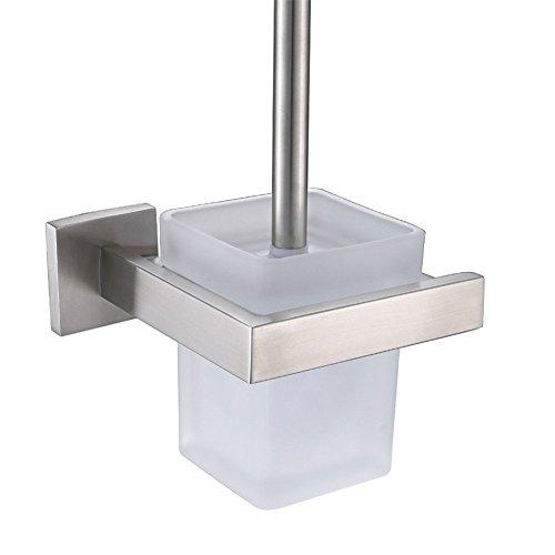 CASEWIND Toiletten Set Toilettenbürstenhalter aus 304 Edelstahl mit Bürte und Mattglas Becher, Günstig Rostfrei Gebürstet finished Modern Silber Stil Wandhalterung Bohren