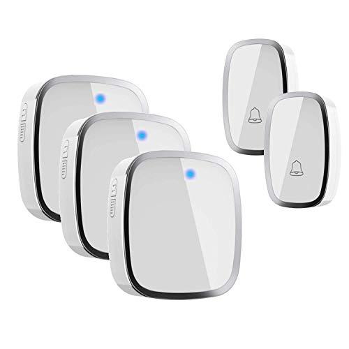 Wireless Doorbell ,IPSmart Portable Waterproof Door Chime Kit over 900ft Long Range 4-Level Volume & Blue Light 36 Melodies to Choose Door Bell Doorbell Wireless