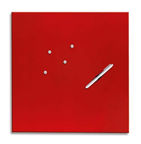Eurographics Memo Board MB-RED5050 Magnet- und Schreibtafel aus Glas in rot (inklusiv Stift + Magnete)  Red 50x50cm