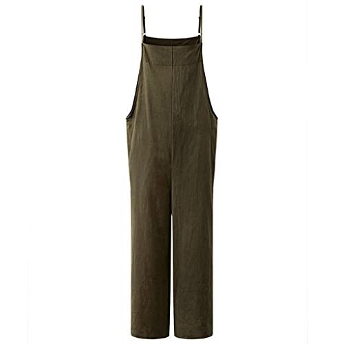GFDFD Moda Moda Straps Straps Sumpsuits Summer Wide Pierna Pantalones Pantalones Sueltos sólidos Damas Casual (Color : Green, Size : 2XLcode)