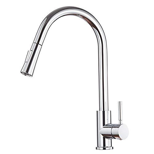 Lutriva Wasserhahn Küche Chrom Küchenarmatur Herausziehbarer Einhebel Mischbatterie Ausziehbar 2 Sprüh Modus