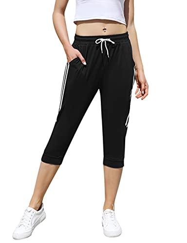 Pantalones Deportivos Algodón Mujer 3/4 Largo Yoga Running Fitness Jogging Danza Pijama de Interior Largos Chándal Casuale