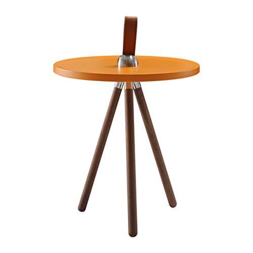 Salon rond petite table basse Table d'appoint for canapé nordique Table de loisirs à trois pieds en noyer métallique (Color : Orange, Size : 40 * 40 * 40cm)