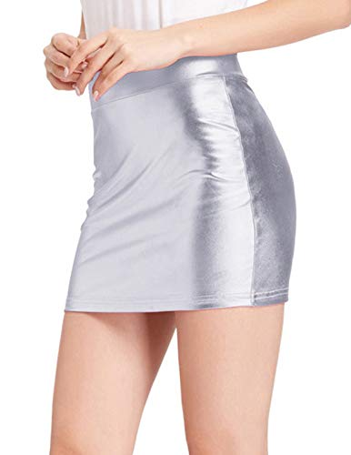 Kate Kasin Junior Elastic Shiny Mini Bodycon Pencil Skirt Deep Pink, Silver Size M