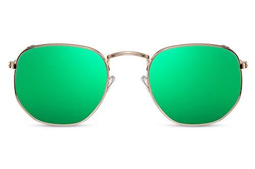 Cheapass Occhiali da Sole Hexagon Occhiali con una Montatura Oro e Lenti a Specchio Rosse da Uomo e Donna UV400 Protetti