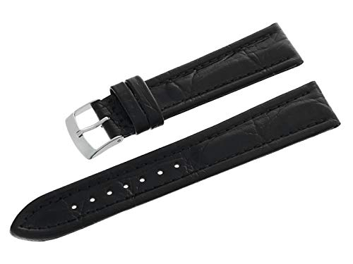 Morellato A01U1471471019CR18 - Cinturino per orologio in vera pelle con fibbia ad ardiglione in acciaio INOX, 18 mm, colore: Nero