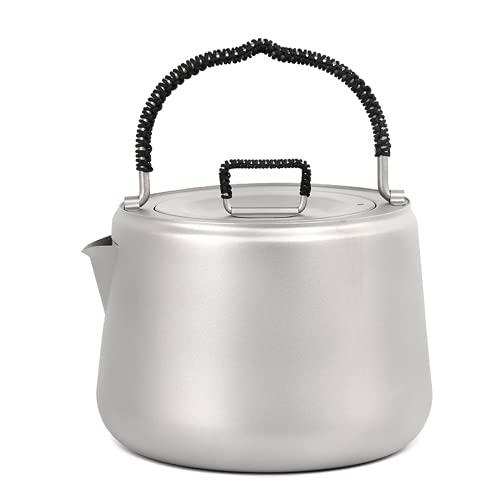 Camping al aire libre Caldera de titanio 1.4L Hervidor de agua Coffee Pot Ti Tetera Ultralight