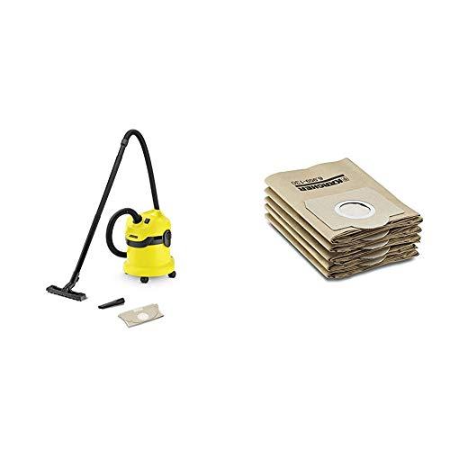 Kärcher WD2 - Aspirador en seco y húmedo, 1000 W, 12 l + Kärcher Bolsa de filtro de papel