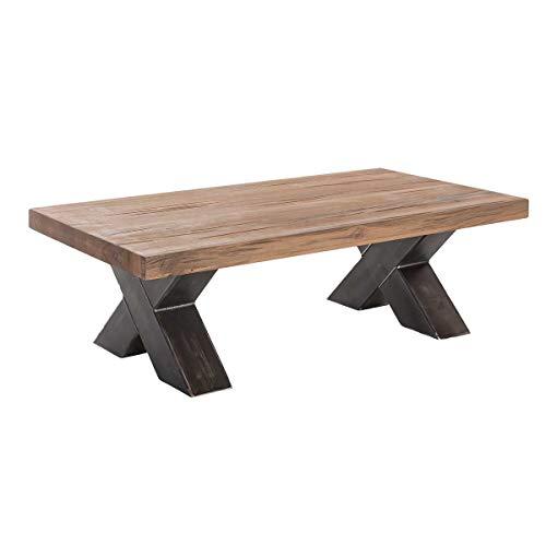 MÖBEL IDEAL Couchtisch Wohnzimmertisch Xano 120x70, Industrie-Design, Massivholz Holz Eiche massiv/Metall, Breite 120 cm, Tiefe 70 cm, Höhe 40 cm