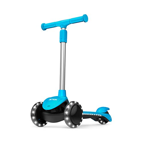 Jetson Lumi 3 Wheel Light-Up Kick Scooter for Girls or Boys, Ages 3+ - Max Grip Light Up Deck and PVC Wheels- Adjustable Height, Blue