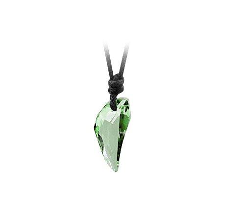Hanessa, collana con ciondolo a dente di lupo in finto cristallo, da uomo, unisex e acciaio inossidabile, colore: verde, cod. B71_Grün