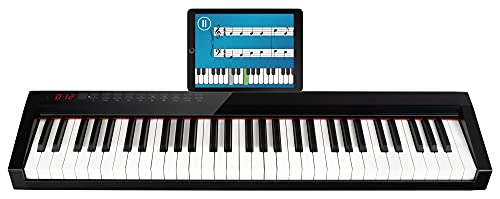 FunKey SP-561 Easy-Piano - Keyboard mit 61 Tasten in Standardgröße - Anschlagdynamik - Integrierter 2200 mAh-Akku - USB, MIDI & Bluetooth - Inklusive Tasche & Sustain-Pedal - Schwarz