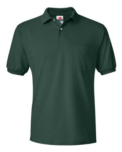 Hanes Herren-Poloshirt ComfortBlend EcoSmart aus Jersey mit Tasche - Grün - Klein
