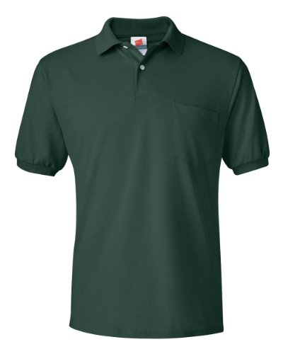 Hanes Men's 5.2 oz Hanes STEDMAN Blended Jersey Pocket Polo, L-Deep Forest