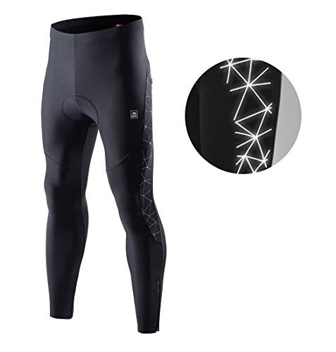 Santic Cycling Tights Fleece Thermal Padded Bicycle Pants Reflective Winter Leggings