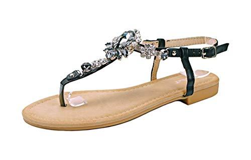 Zehentrenner Sandalen Strass Schuhe Riemchensandalen Sandaletten Strandschuhe Flip-Flop flach, Damen 0009927 (38, Schwarz (Modell 3))