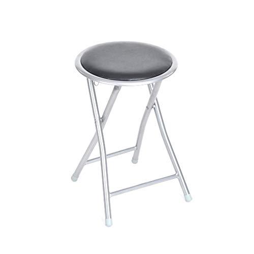 TIENDA EURASIA® Taburete Plegable de Aluminio con Asiento Acolchado. Medidas: 45x30x30cm Ideal para Cocina, Comedor, Salón, Dormitorio (Negro - Gris)