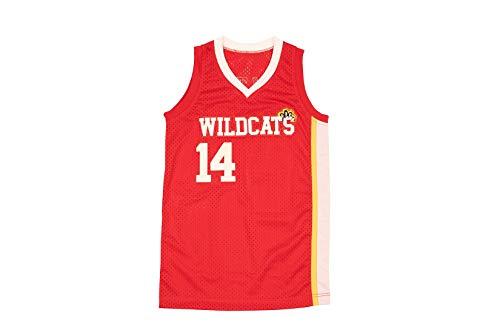 Boriz Zac E Troy Bolton 14 East High School Wildcats Claws Red Stitch Basketball Jersey (30)