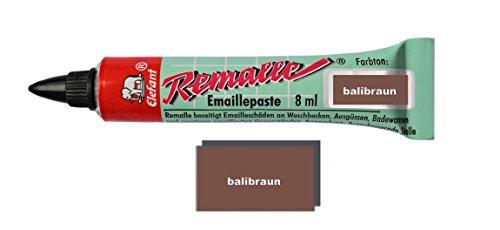 Helmecke & Hoffmann Remalle Emaille Paste Emaillelack Reparaturlack Lack in vielen Farben je 8 ml + Pinsel Fuer Jede Tube (balibraun)