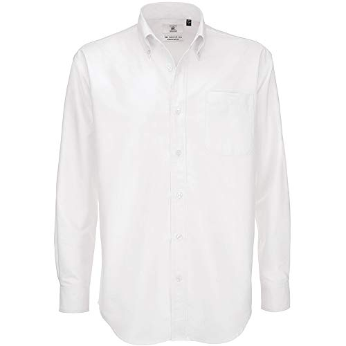 B&C Mens Oxford Long Sleeve Shirt Chemise Business, Blanc (White 000), 17.5 (Taille Fabricant: X-Large) Homme