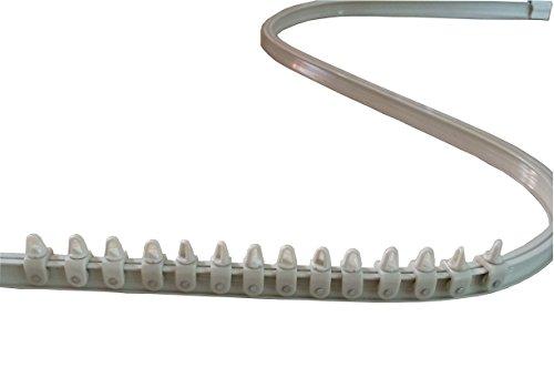 BarthSystème Mini-Rail de Rideau Cintrable Alu - Set Complet et Accessoires (145 cm, Blanc)
