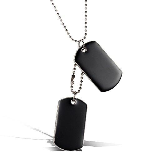 JewelryWe Schmuck Herren Halskette, 2 Militärischen Erkennungsmarken Armee Stil Dog Tag Anhänger mit 80cm Kette, Schwarz Silber, mit kostenlos Gravur