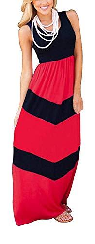 High end Roberoody Elegant Womens Scoop Neck Wave Striped Tank Maxi Long Dress,3XPlus,Black-7
