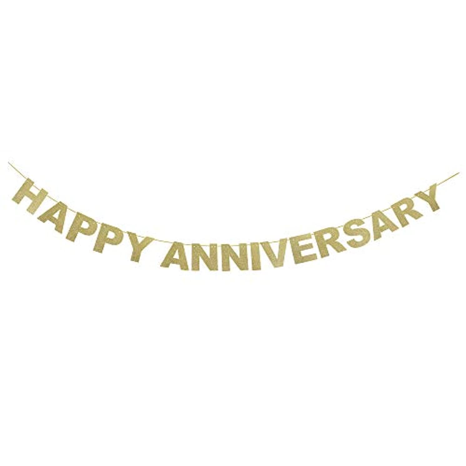 Happy Anniversary Silver Glitter Banner - Wedding Anniversary Party Bunting (Gold)