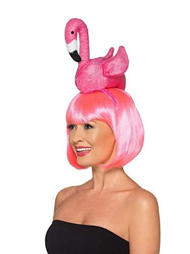 Luxuspiraten - Kostüm Accessoires Zubehör Damen Flamingo Kopfschmuck, perfekt für Karneval, Fasching und Fastnacht, Rosa