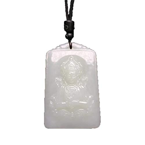 Natural Hetian Jade Guanyin Pendant White Jade Necklace with Certificate