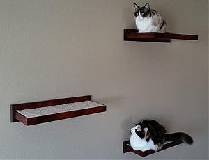 Pinnacle Woodcraft Oak Floating Cat Shelf Handcrafted Maple Wood Feline Perch – One Corner and Two Rectangular Pieces – Finest Maple Wood Finished with a Dark Cherry Lacquer
