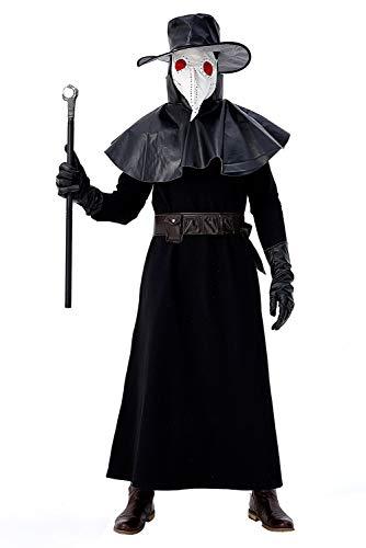 Fortunezone Herren Mittelalter Pest-Doktor Kostüm mit Pestdoktor Accessoire Set XL