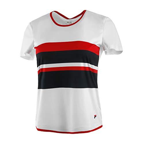 Fila Camiseta Samira para Mujer, Color Blanco, Azul, XL
