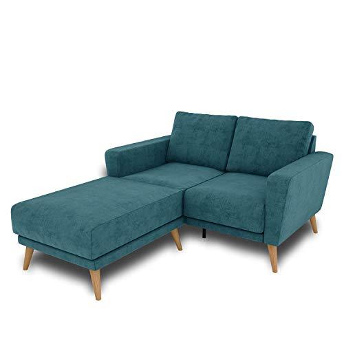 KAUTSCH Lotta Zweisitzer Sofa für Wohnzimmer zerlegbar - Couch 2-Sitzer - Polstersofa - B 144 cm - Longchair Links - Petrol - Holzfüße aus Eiche
