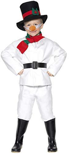 Smiffys, Kinder Jungen Schneemann Kostüm, Oberteil, Hose, Hut, Schal, Gürtel und Nase, Größe: M, 30056