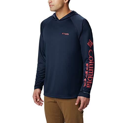 Columbia Men's PFG Terminal Tackle Fishing Hoodie, Breathable, UV Sun Protection Coll Navy/Sunset Red Logo, Medium