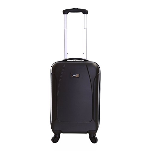 Karabar Hard Cabin Carry-on Hand Luggage Suitcase Bag 55 cm 2.4 kg 35 litres 4 wheels, Evora Black