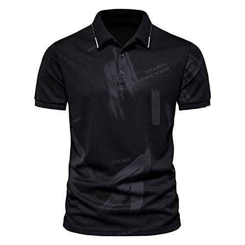 T-Shirt Top Shirts Herren Sommermode Feder Bronzing Print Revers Kurzarm...