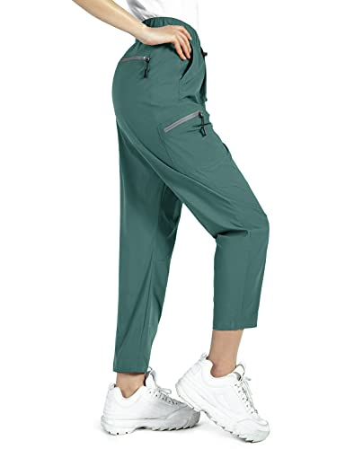 Wespornow Pantaloni Trekking Donna Asciugatura Rapida Traspiranti Pantaloni da Montagna Arrampicata Escursionismo per attività All'aperto,-Trekking Pantaloni-Jogging Pants (Verde Calmo, M)
