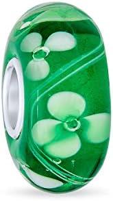 Trébol Suerte Trébol Irlandés Del Abalorio Cristal Murano Verde Abalorio Plata 925 Colocar Pulsera Europea Mujer