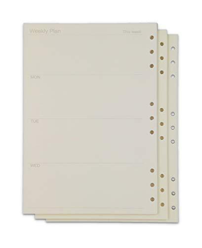 MT's SHOP ルーズリーフ B5 9穴 リフィル システム手帳 交換用 90頁 3冊 セット アイボリー OF290 (週間 3冊 (B5))