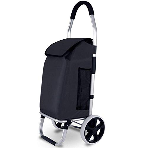 QXTT Folding Heavy Duty Aluminium Shopping Trolley With Removable Bag With 2 Wheels Large Capacity,Black